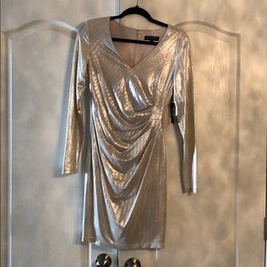 Guess Silver Long Sleeve Gathered Cocktail Dress